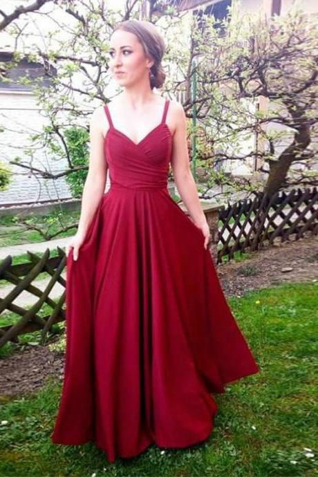 Spaghetti Straps Burgundy Long Prom Evening Dresses With Ruffles