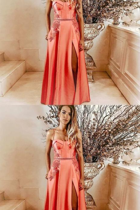 A-Line Spaghetti Straps Pink Long Prom Dress with Pockets Appliques