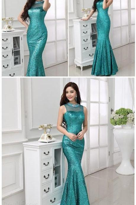 Sexy Charming Sequins Mermaid/Trumpet Rhinestone Floor Length Evening/Prom Dress Prom Dresses
