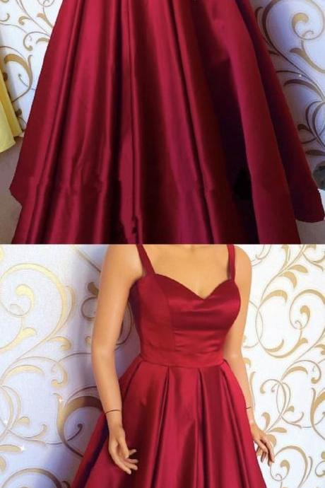 Burgundy Satin Sweetheart Floor Length Prom Dresses With Straps