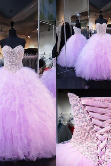 Sweetheart ball gown,pink prom dresses with beads,tulle sweet 16 dresses,quinceanera dress