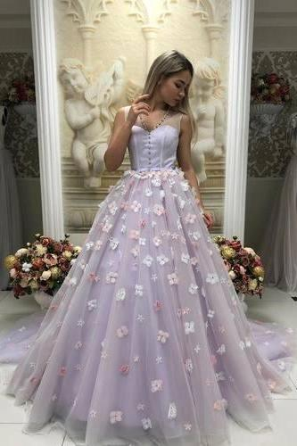 Elegant Lavender Tulle Ball Gown Prom Dress with Handmade Flower, Formal Evening Dress