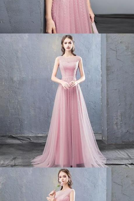 Stylish round neck tulle beaded long prom dress, evening dress