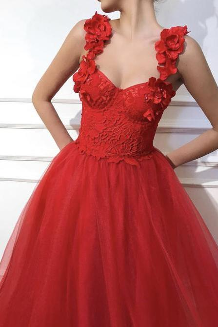 Red Scarlet dress color Tulle dress fabric Handmade corset with TMD embroidered flowers A-line dress shape