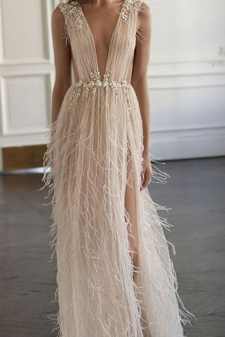 Tulle Sexy V-neck, See-through, Prom Dresses with Beading ,Summer Dresses,Floor Length ,Sleeveless Evening Dress with Feather