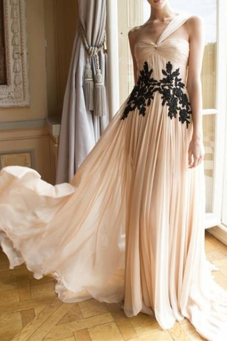 One Shoulder Prom Dresses,Black Lace Evening Dress,Chiffon Prom Dress,Champagne Prom Dresses,Simple Prom Gown