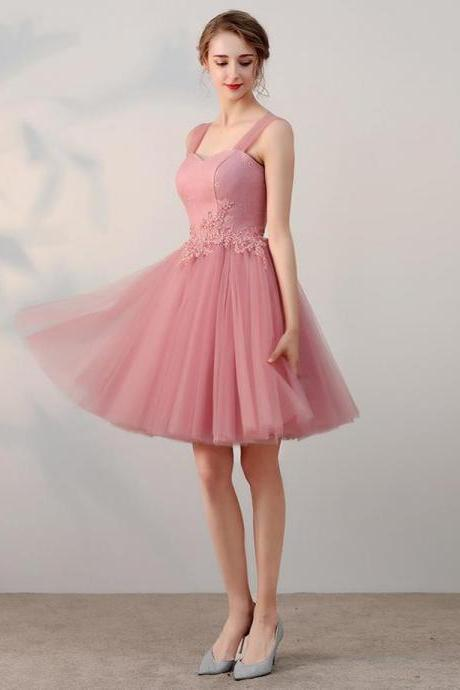 Chic A-line Pink Tulle Lace Applique Straps Short Prom Dress Simple Homecoming Dress
