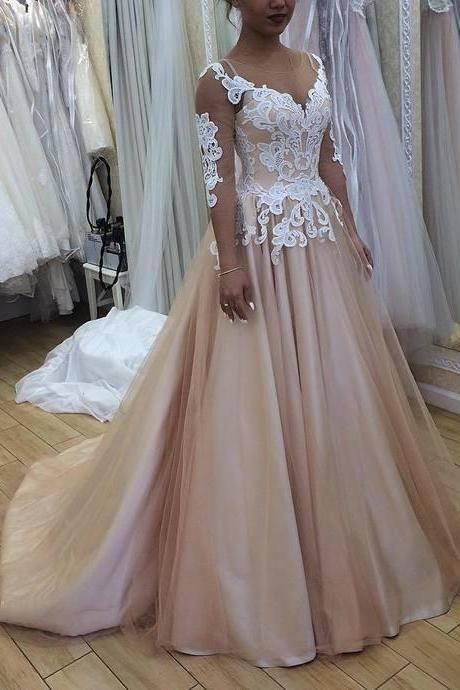 New Arrive Champagne Wedding Dress with 3/4 Sleeves Fashion,