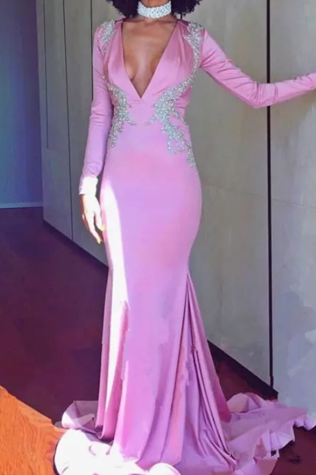 Newest Pink Long Sleeve Mermaid Evening Dresses Satin Appliques Beaded Sweep Train Formal Evening Gowns Prom Party Dresses