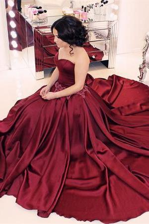 Sweetheart Burgundy Prom Dress, Sexy Sleeveless Prom Dresses, Long Formal Dress