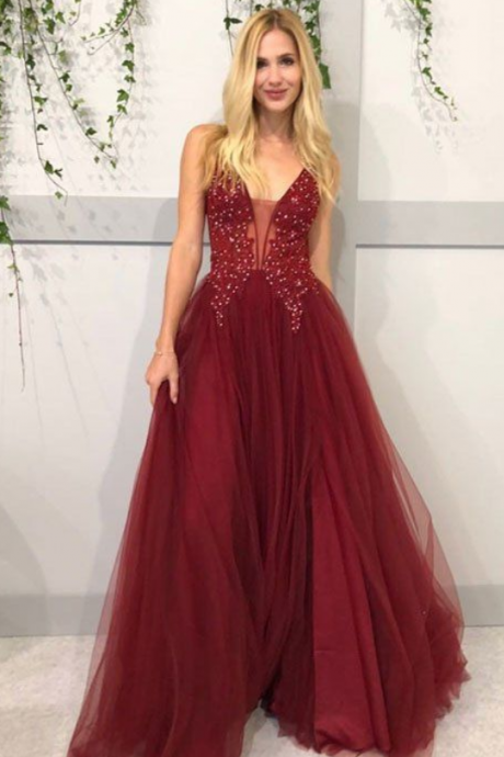 Elegant A line Burgundy Beaded Tulle Prom Dresses Plus Size Women Party Gowns , Sexy Custom Made Formal Evening Dress