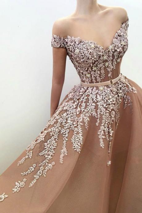 Stunning Off-the-Shoulder Sexy Evening Dress Organza Prom Dress
