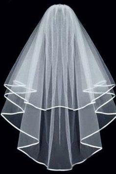 White Double ribbon Edge Center Cascade Bridal Wedding Veil with Comb