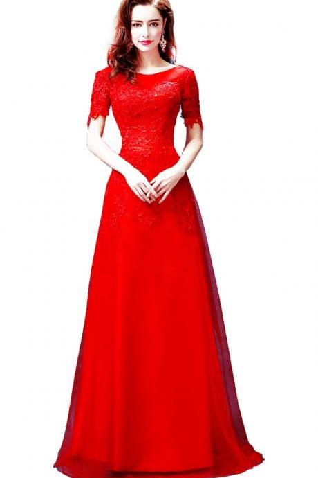 Red Lace Bridesmaid Dress Party Dress Cocktail Dress Set evening dress, 2016 formal dresses, PROM dresses