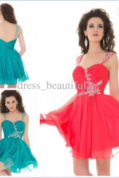 2014 Free shipping Custom made Strap Ball gown Mini chiffon 30D Pretty homecoming dress Fashion Graduation dress Crystal Short prom gowns