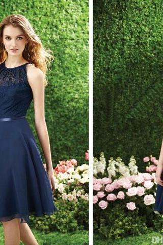 Sexy Navy Blue Bridesmaid Dresses 2015 Chiffon Lace A Line Halter Neckline Sleeveless Sash Keyhole Zipper Back Fomal Party Dress Knee Length