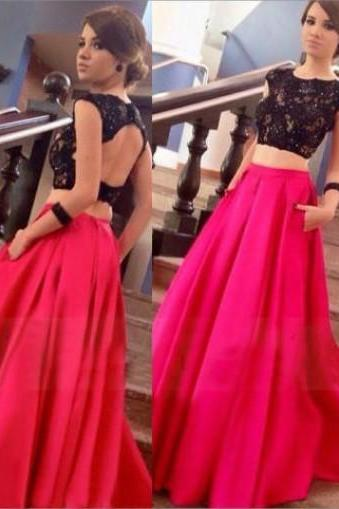 Two-Pieces Satin Crew Neck Backless Long Prom Dress With Lace Top 2016