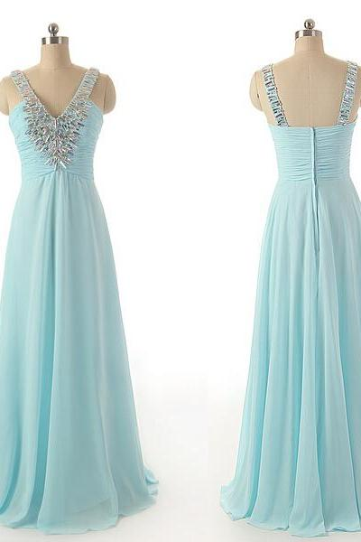 Spaghetti Straps A-Line Chiffon Prom Dresses Crystal Floor Length Party Dresses