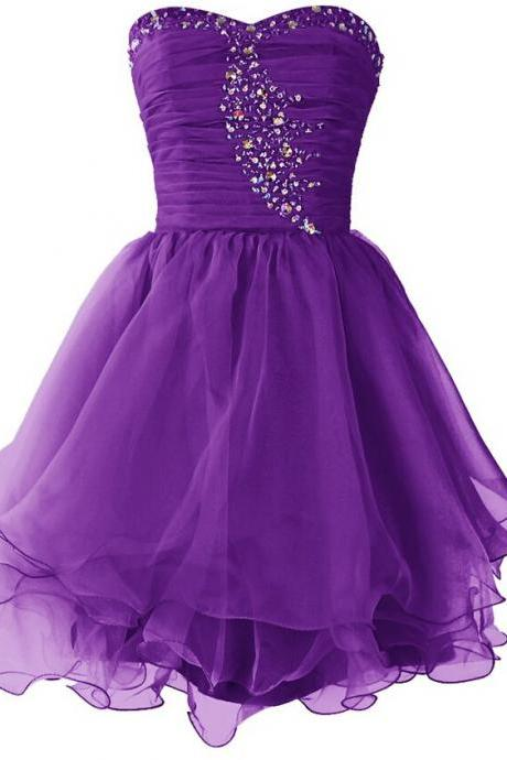 Short Tulle Homecoming Dresses Crystals Beaded Party Dresses Beaded