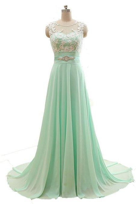 O-Neck Long Chiffon Prom Dresses Appliques Floor Length Party Dresses