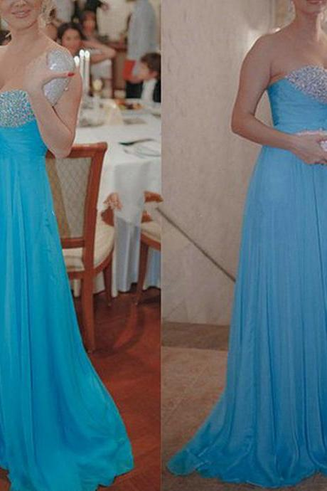 Sweetheart Neck Long Chiffon Prom Dresses Crystals Party Dresses