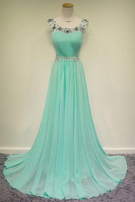 Scoop Neck Long Chiffon Prom Dresses Crystal Beaded Floor Length Party Dresses