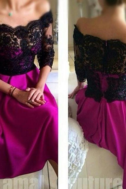 Half Sleeve Long Soft Satin Prom Dress Black Lace Off Shoulder Party Dresses