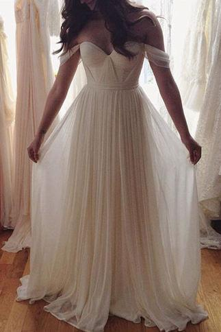 Hot Sale Prom Dress,Charming Prom Gowns,Off The Shoulder Prom Dress ,White Prom Gows, A-Line Evening Dress,Long Wedding Dress,Off The Shoulder Wedding Dress