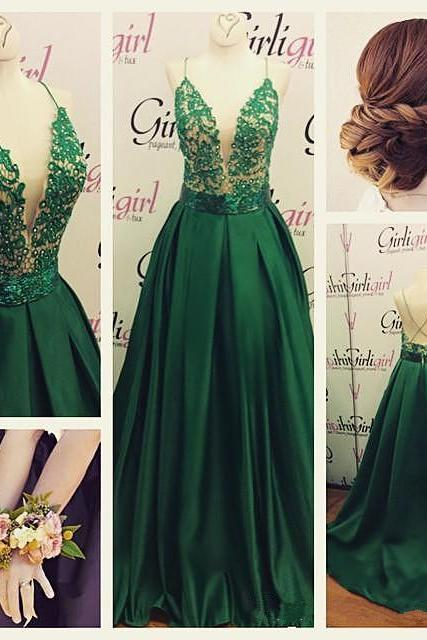 Prom Dress,Halter Prom Dress,2015 Prom Dress,Custom Made Prom DressDeep V Prom Dress Sexy Prom Dress Green Prom Dress Beautiful Prom Dress Spaghetti Straps Prom Dress Lace With Satin Prom Dress Long Prom Dress