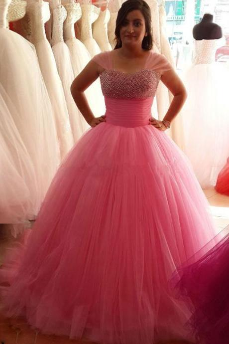 Velvet Long Beautiful Puffy Tulle Ball Gown Prom Dresses 2016 With Crystal