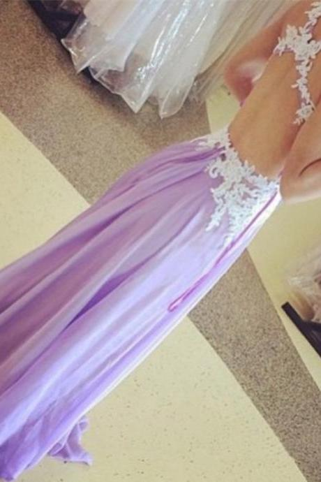 Charming Handmade Lavender Long Prom Dress With Cross Back, Prom Gowns, Party Dresses, Prom Dresses 2016