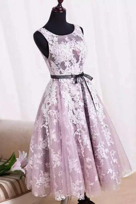 Charming Handmade Tea Length Tulle Pink Prom Dresses With Lace Applique, Prom Dresses, Homecoming Dresses