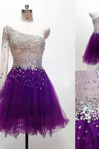 Sparkle Handmade Purple One Shoulder Beadings Short Prom Dresses, Prom Dresses 2016, Prom Gowns