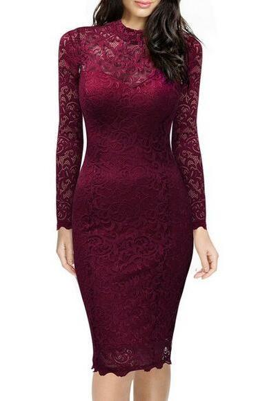 Women's High Neck Floral Lace Fitted Retro Evening Pencil Dress