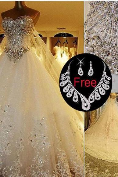 Wedding Dresses Luxury Cathedral Train Bridal Gowns Real Image plus size wedding gown