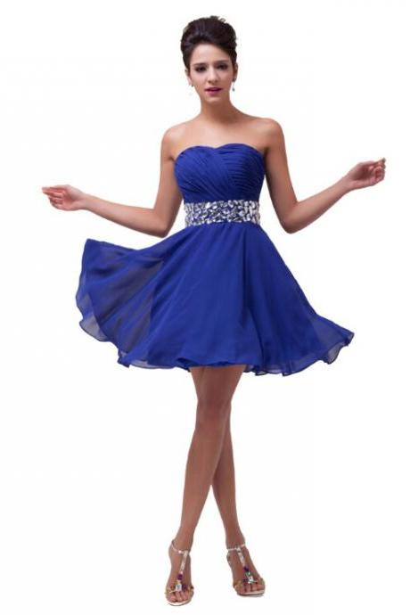 Girls Lovely Short Chiffon Homecoming Dresses 8th Grade Graduation Dress Sweetheart Simple Prom Party Dress with Crystals