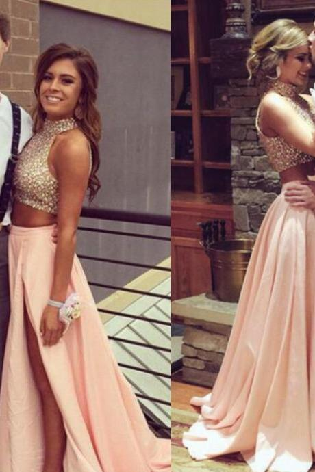 High Neck Two Parts Long Chiffon Prom Dresses Crystals beaded Party Dresses 2016 Women Dresses
