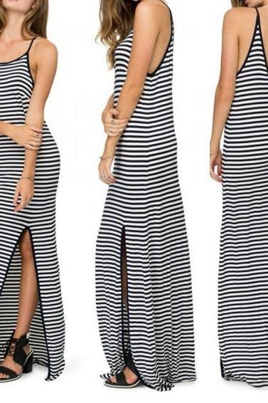 Black and white striped sling slit dress