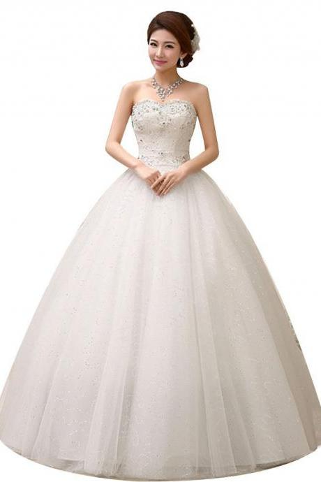 Shoulder Floor Length Bridal Gown Wedding Dress Custom