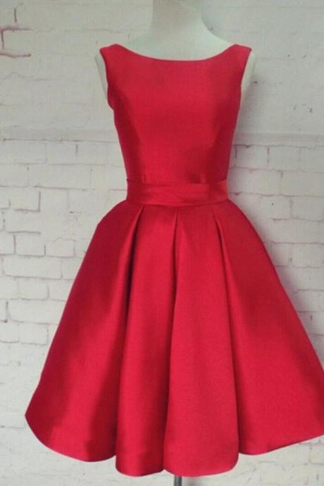 A-line Scoop Red Homecoming Dress with Ribbon, Short Prom Dress, Red Homecoming Dress, Short Homecoimg Dress, Party Dress, Red Dress, Evening Dress