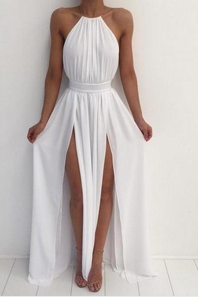 White halter Simple A-line backless long prom dress , chiffon evening dress