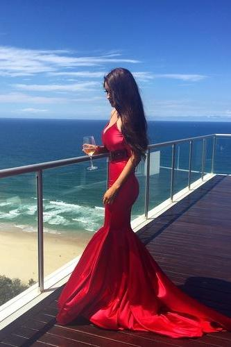 Sexy A-line Beads High-neck Red Prom Dresses,Long Evening Dresses,Prom Dresses