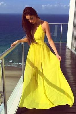 Yellow Charming Prom Dresses,Long Evening Dresses,Prom Dresses Chiffon Long Evening Dress Prom Party Gown