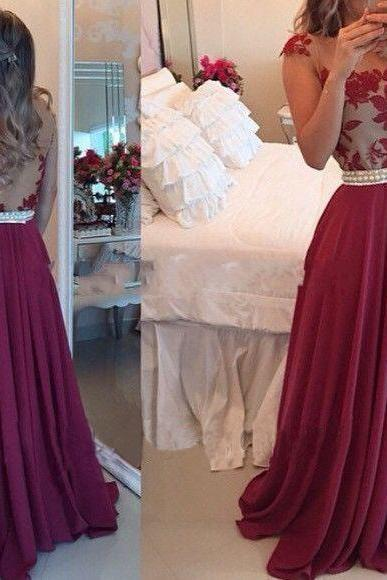 Sheer Lace Black Chiffon Prom Dresses Capped Sleeves Pearls Belt Open Back Modest Formal Long Evening Gowns