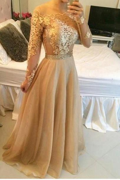Appliques Gold Prom Dresses, Floor-Length Prom Dresses, Real Made Evening Dresses,Chiffon Backless Evening Dresses, Evening Dresses On Sale