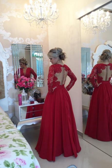 Red Long Sleeves Prom Dresses 2016 V Neck Lace Pearls Floor Length A-line Stunning Evening Gowns