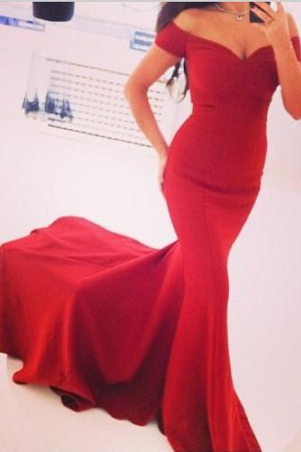 2016 New Arrival Prom Dresses Off the Shoulder Red V-neck Court Train Short Sleeves Sheath Simple Evening Gowns
