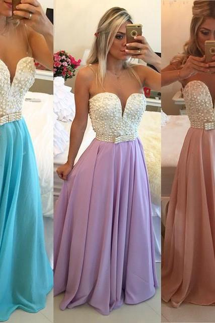 2016 Pearls Chiffon Prom Dresses Sweetheart Neck Sheer Open Back Long Formal Evening Gowns