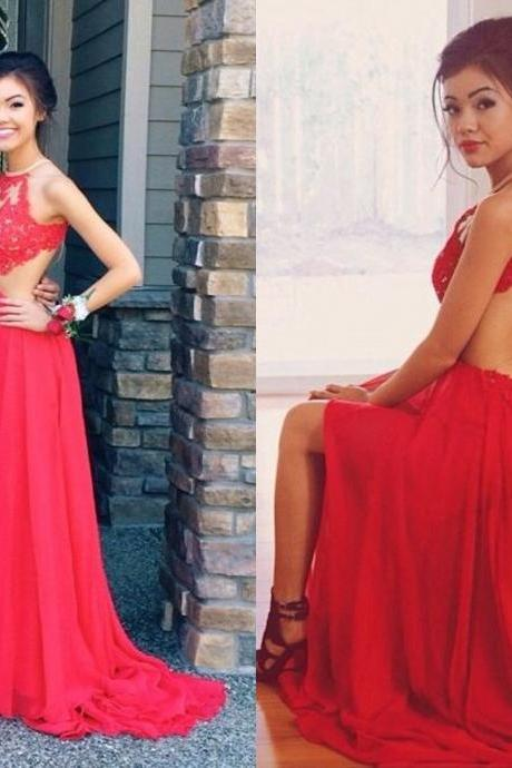 Halter Prom Dresses Backless Spaghettis Red Lace Applique Beading Chiffon Sexy Evening Gowns