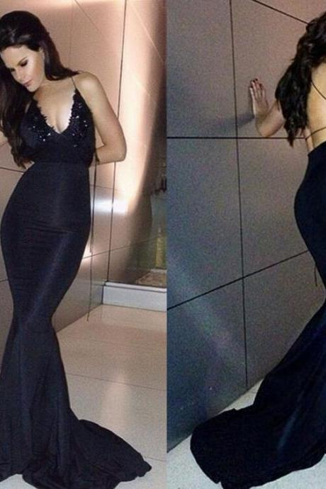 Black Long Mermaid Lace Prom Dresses,Prom Gowns,Evening Dresses,Party Gowns,Backless Prom Dress